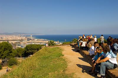 Visitors to Montjuic Castle admire city  panorama,  Barcelona, Catalonia, Spain