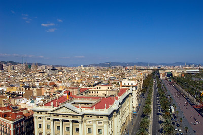 View of town and passeig de Colom, Barcelona, Catalonia, Spain