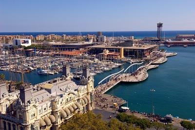 Port Vell and Maremagnum seen from Mirador de Colon, Barcelona, Catalonia, Spain