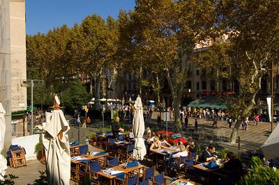 Restaurant of Centre de Art de Santa Monica overlooking Las Ramblas, Barcelona, Catalonia, Spain