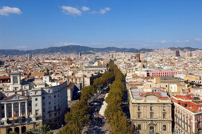 Town view and Las Ramblas seen from Mirador de Colon, Barcelona, Catalonia, Spain