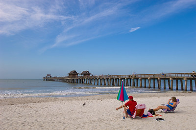 United States Of America, Florida, Naples, beach and pier