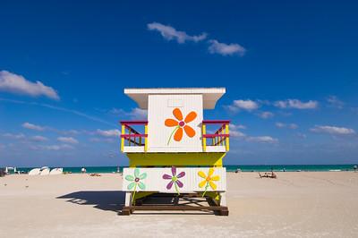 United States Of America, Florida, Miami, South Beach, beach, lifeguard hut