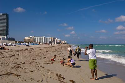 United States Of America, Florida, Miami, South Beach, family on the beach
