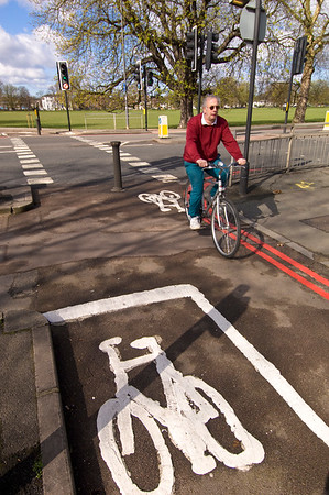 Red route and cycle lane in Ealing Common, Ealing, W5, London, United Kingdom