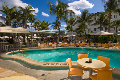 United States Of America, Florida, Miami, South Beach, pool and bar of Clevelander Hotel on Ocean Drive