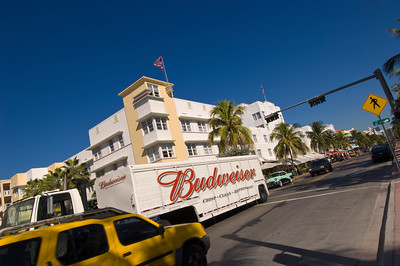 United States Of America, Florida, Miami, South Beach, traffic and architecture on Ocean Drive