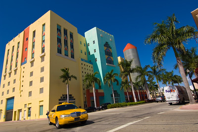 United States Of America, Florida, Miami, South Beach, architecture and traffic on Washington Avenue in Art Deco district