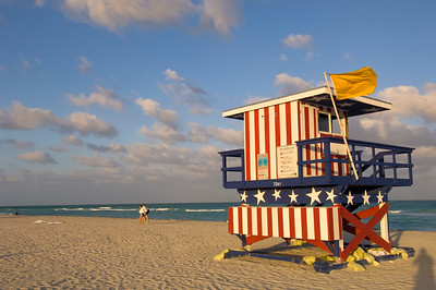 United States Of America, Florida, Miami, South Beach, lifeguard hut on the beach
