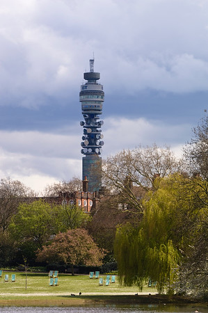 BT Tower seen from Regent's Park, NW1, London, United Kingdom