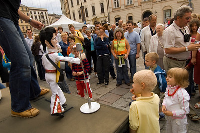 Poland, Cracow, puppet show on Main Square in Old Town