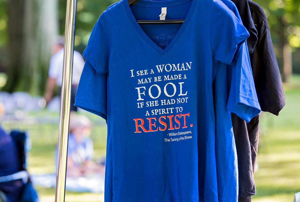 . Shirts were on sale at the Cleveland Shakespeare Festival performance of �The Taming of the Shrew� July 1 at James A. Garfield National Historic Site in Mentor. (Carrie Garland for The News-Herald)