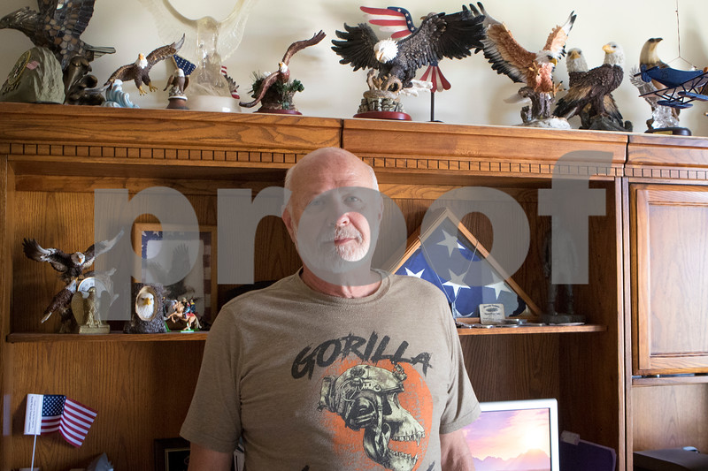 Sam Buckner for Shaw Media.<br /> Herb Holderman, a vietnam war veteran poses infront of a desk in his home on Sunday July 2, 2017 which is  decorated with bald eagle statues he has collected over the years.
