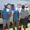 Richard Payerchin - The Morning Journal <br> Anglers Zack Lockenott, Brandon Baker and Breen Laughlin of Avon Lake pose with two of the walleye they caught July 2, 2016, in the fourth annual Hooks for Hunger Walleye Tournament, a fundraiser for Community Resource Services. The agency seeks to alleviate poverty in Avon Lake and Avon.