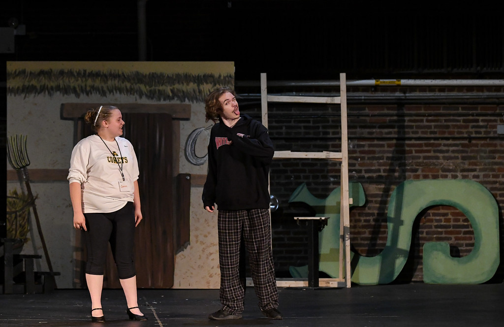 """. Eric Bonzar � The Morning Journal <br> Sixteen-year-old Corrin Hickman of Amherst, and Devin Sugerik, 18, of Avon Lake will play the lead roles of Fiona and Shrek in the Lorain Palace Youth Theater\'s upcoming performance of \""""Shrek the Musical Jr.\"""" The group\'s 40th anniversary show is 7 p.m. July 21 and 22, and 2 p.m. July 23 at Lorain Palace Theater at 617 Broadway Ave. in Lorain. General admission tickets cost $10 at the door or online at www.lorainpalace.org."""
