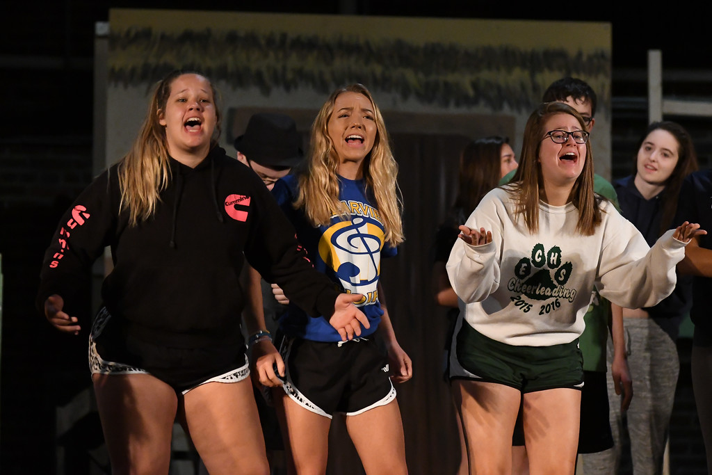 """. Eric Bonzar � The Morning Journal <br> From left to right: 17-year-old Sami Novak and 16-year-olds Lexi First and Tori Bucci perform a musical number as the three little pigs, July 12, 2017 during a rehearsal of the Lorain Palace Youth Theater\'s upcoming performance of \""""Shrek the Musical Jr.\"""" The group\'s 40th anniversary show is 7 p.m. July 21 and 22, and 2 p.m. July 23 at Lorain Palace Theater at 617 Broadway Ave. in Lorain. General admission tickets cost $10 at the door or online at www.lorainpalace.org."""