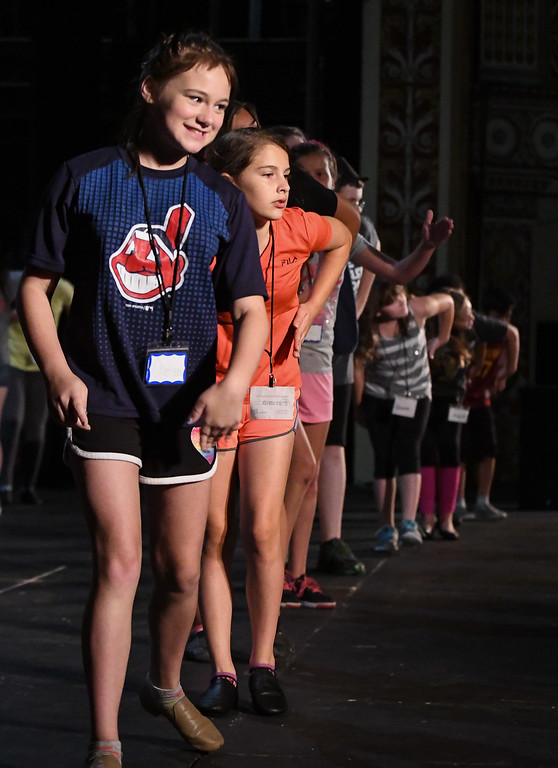 """. Eric Bonzar � The Morning Journal <br> As the ugly duckling, 11-year-old Chelsea Young leads a line of dancers during a rehearsal of the Lorain Palace Youth Theater\'s upcoming performance of \""""Shrek the Musical Jr.\"""" on July 12, 2017. The group\'s 40th anniversary show is 7 p.m. July 21 and 22, and 2 p.m. July 23 at Lorain Palace Theater at 617 Broadway Ave. in Lorain. General admission tickets cost $10 at the door or online at www.lorainpalace.org."""