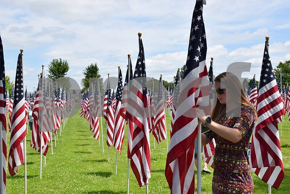 In addition to the Wall that Heals, Flags of Honor were on display at Sycamore Community Park July 13 to 16. Each American flag in the field represents an American POW or MIA from the Vietnam War that did not return home. Katrina Hager of Rochelle looks at the name tag on one of the American flags on display.