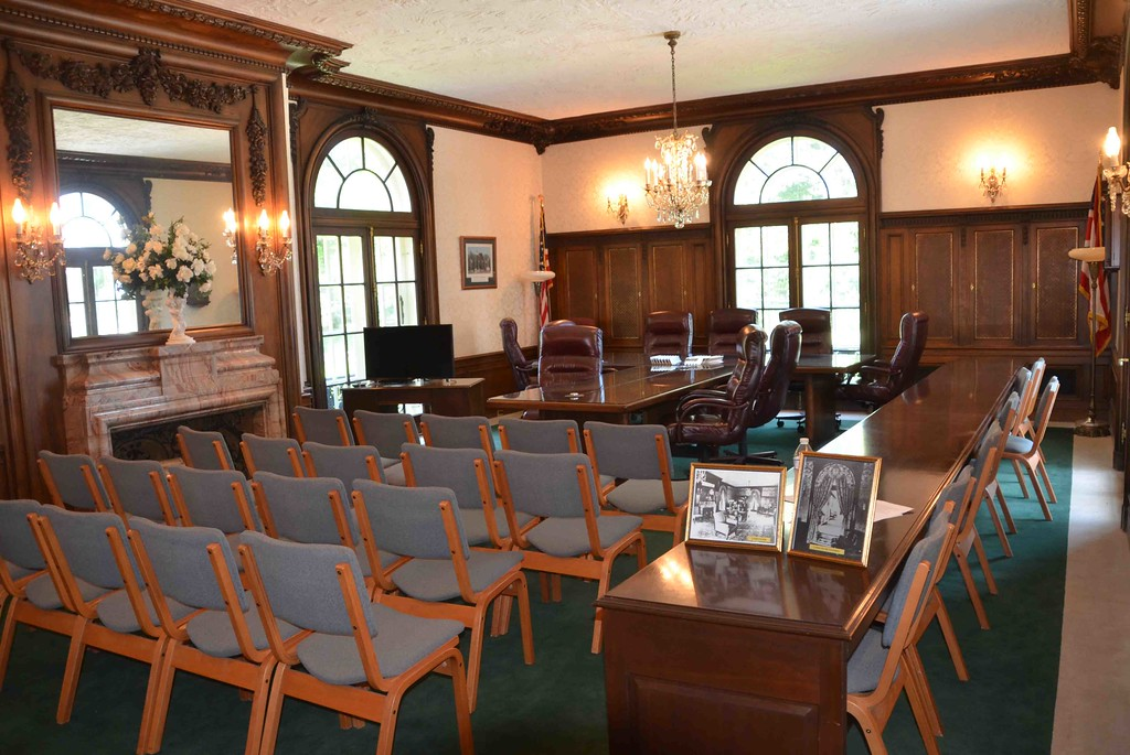 . Paul DiCicco � The News-Herald <br> Currently the Wickliffe City Council Chambers, this room served as the living room for the Coulby family prior to the city purchase, when it was converted to Wickliffe City Hall.