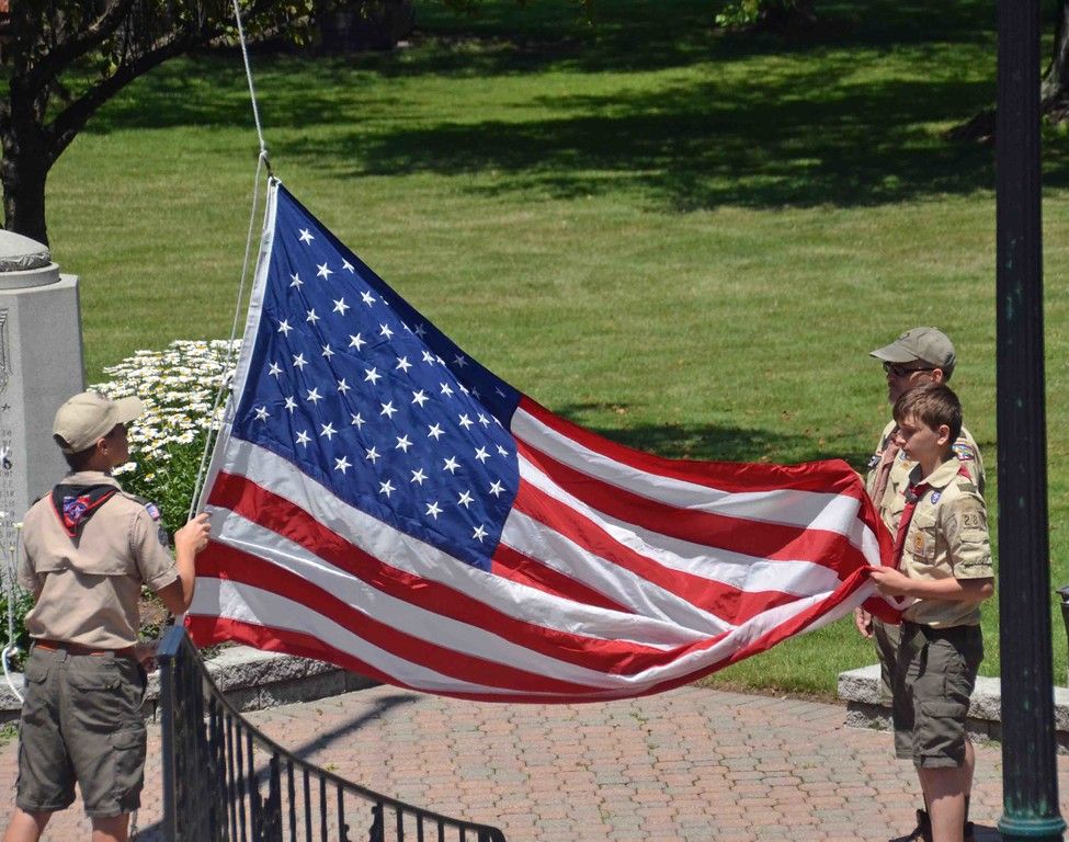 . Paul DiCicco � The News-Herald <br> Boy Scout Troop 289 of Wickliffe presents the colors and raises the flag over the Wickliffe Bicentennial Celebration.