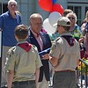 Paul DiCicco — The News-Herald <br> Boy Scout Troop 289 of Wickliffe is presented the flag by Mayor Margalis during the national anthem.