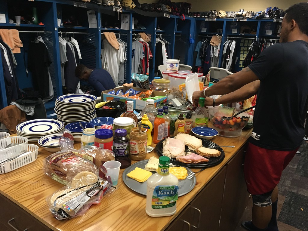 . David S. Glasier - The News-Herald Home clubhouse, pre-game spread
