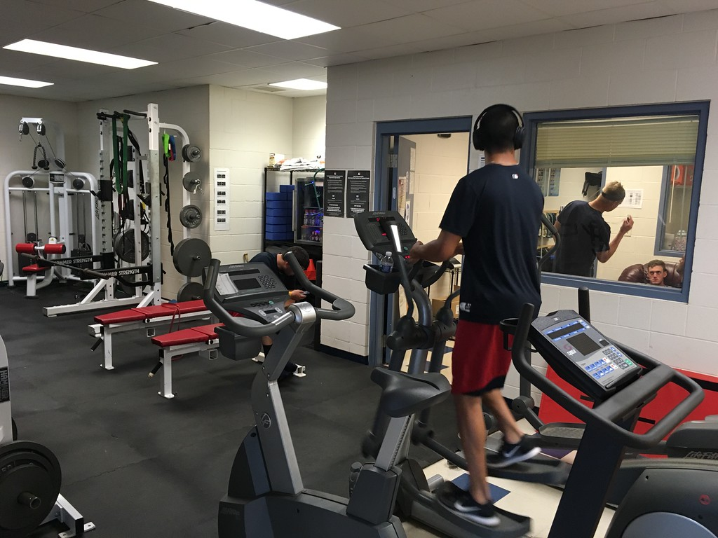 . David S. Glasier - The News-Herald Home clubhouse weight room and fitness area, pitcher Justin Garza on step machine