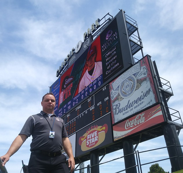 David S. Glasier - The News-Herald<br /> Captains general manager Neil Stein and the ballpark's new video board