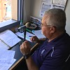 David S. Glasier - The News-Herald<br /> Public address announcer Wayne Blankenship, operations booth