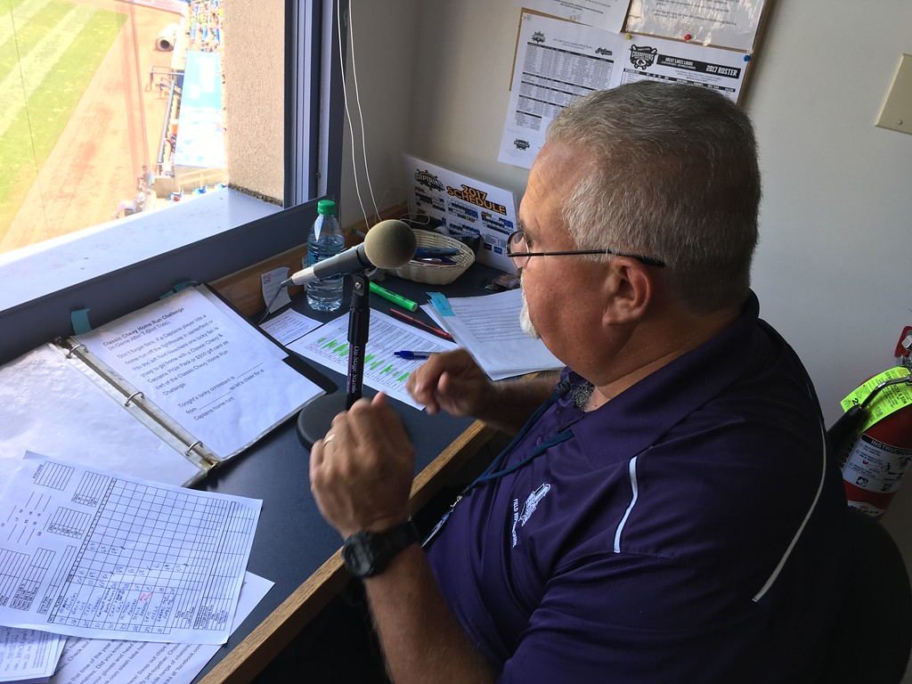 . David S. Glasier - The News-Herald Public address announcer Wayne Blankenship, operations booth