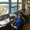 David S. Glasier - The News-Herald<br /> Captains radio booth, suite level, play=by-play announcer Andrew Luftglass