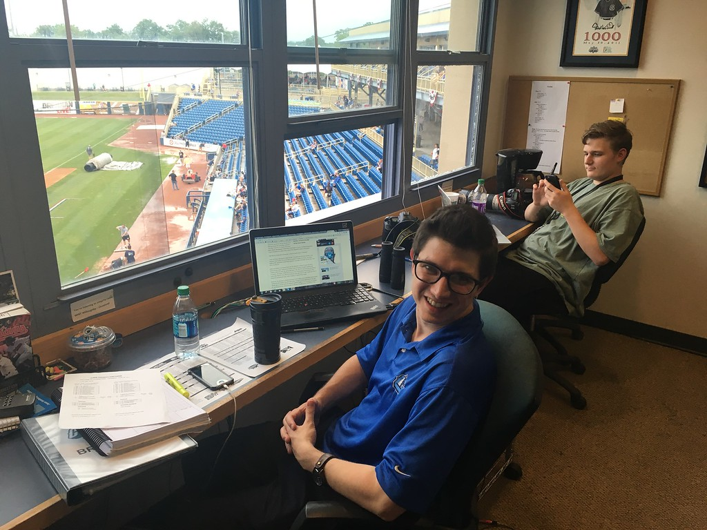 . David S. Glasier - The News-Herald Captains radio booth, suite level, play=by-play announcer Andrew Luftglass