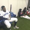 David S. Glasier - The News-Herald<br /> Batting cage field house, rain delay, Captains first baseman Emmanuel Tapia.