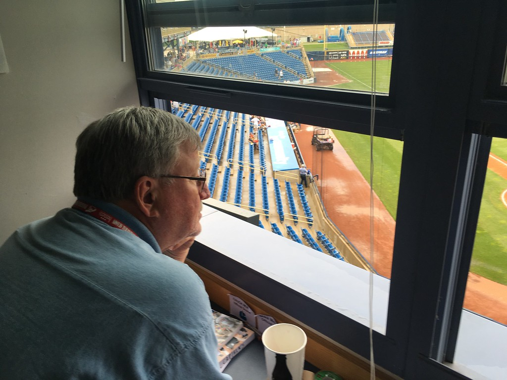 . David S. Glasier - The News-Herald Official scorer Mike Mohner, press box, suite level