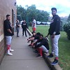 David S. Glasier - The News-Herald<br /> Great Lakes Loons players during rain delay, outside visitors clubhouse