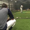 David S. Glasier - The News-Herald<br /> Batting practice, rain delay, Captains infielder Alexis Pantoja (back to camera).
