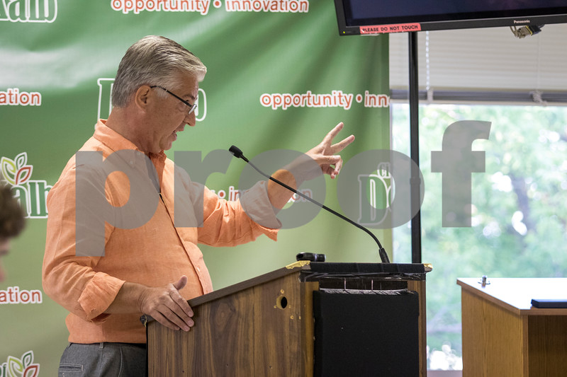 Sam Buckner for Shaw Media.<br /> John Pappas answers questions from the public on Tuesday July 19, 2017 in regards to the propsed development