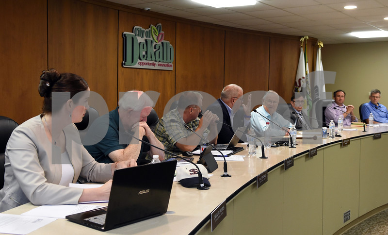 The DeKalb City Council discusses a proposal by Alulu CFO Derek Bly on Monday.  Steve Bittinger - For Shaw Media