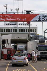 Cars waiting to board ferry to Isle of Wight, Southampton, United Kingdom