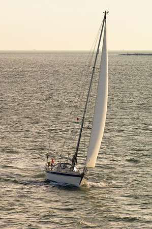 Yacht sailing off the coast of Southampton in English Channel, United Kingdom