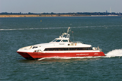 Fast passenger ferry on route from Isle of Wight to Southampton, United Kingdom