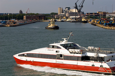 Fast passenger ferry arriving to Southampton, United Kingdom
