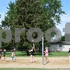 In addition to a sand volleyball court, after renovation, Lions Park in DeKalb now features all-new playground equipment, bags, horseshoes, a half basketball court, a picnic shelter, a council ring, a rock outlook over the Kishwaukee River and a blacktop path winding through a pine grove.