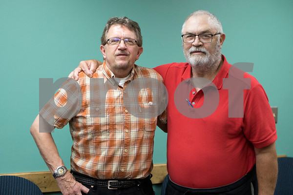 Sam Buckner for Shaw Media.<br /> Russell Runge of Genoa poses with Ron Partch of DeKalb, a substance abuse counselor on Monday July 24, 2017. Runge has been going to the DUI Counseling Center in Sycamore  even after he was no longer court ordered to show support for others in group meetings.