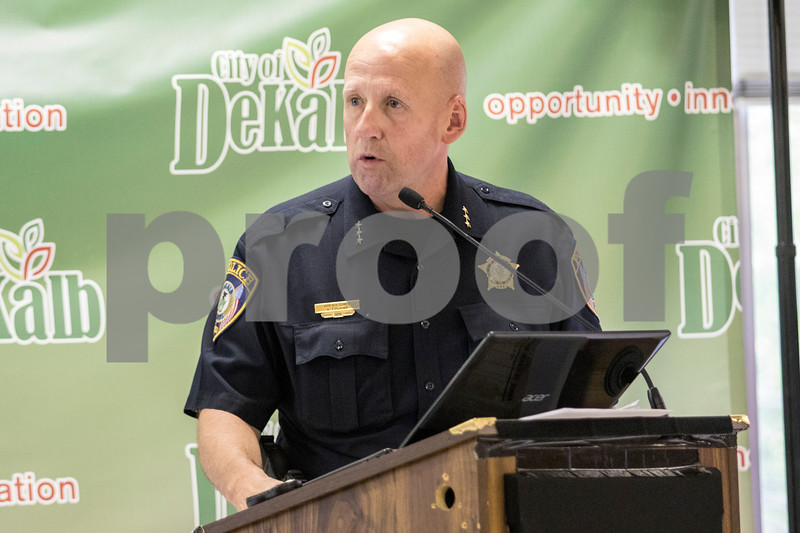 Sam Buckner for Shaw Media.<br /> DeKalb Police chief Gene Lowery speaks at the comittee of the whole meeting on Tuesday July 25, 2017 anout how the city as a whole needs to work together to resolve the issues in the Annie Glidden north neighborhood.