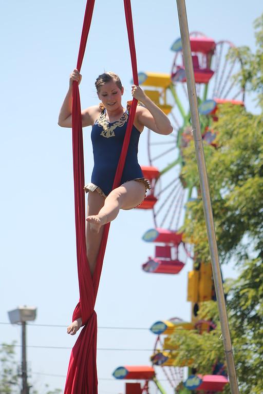 . Ali Weibel of the Cincinnati Circus performs aerial acrobatics at the 2018 Lake County Fair on July 25. Kristi Garabrandt - The News-Herald