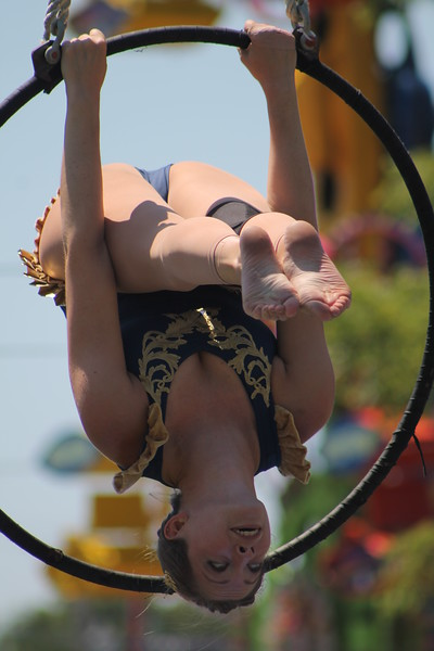 Ali Weibel of the Cincinnati Circus performs aerial acrobatics at the 2018 Lake County Fair on July 25.<br /> Kristi Garabrandt - The News-Herald