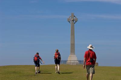 Hiking along Coastal Path to Tennyson Cross, Isle of Wight, United Kingdom