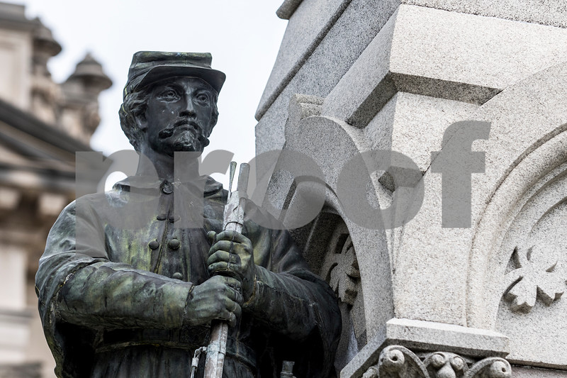 Sam Buckner for Shaw Media.<br /> Statue of a cival war soldier outside the DeKalb County Courthouse on Wednesday July 26, 2017.