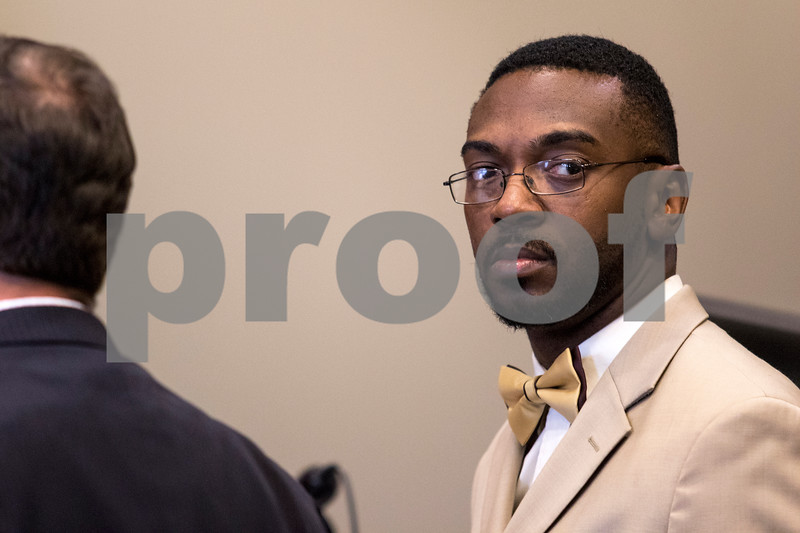 Sam Buckner for Shaw Media.<br /> Corey Butler stands in court on Wednesday July 26, 2017. Butler is accused of child pornography charges.